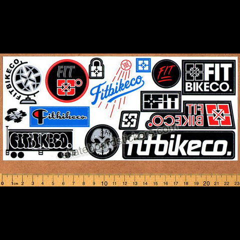 Fit Bike Co. BMX Sticker Sheet - 15 Stickers Multicolour.