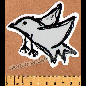 Foundation Bird Skateboard Sticker - Grey (official reissue by Dear Skating