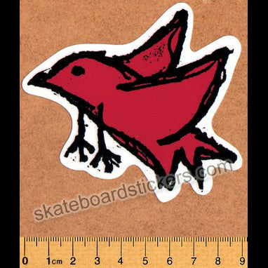 Foundation Bird Skateboard Sticker - Red (official reissue by Dear Skating)
