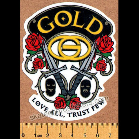 Gold Wheels Skateboard Sticker - Love All, Trust Few - SkateboardStickers.com