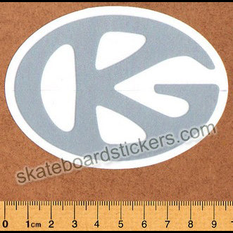 Grind King Skateboard Sticker - GK Logo Silver