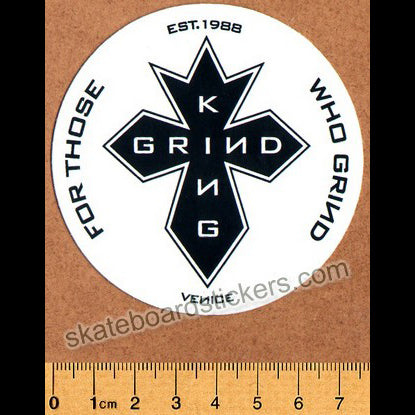 Grind King Skateboard Sticker - GK Cross White
