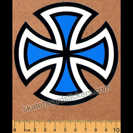 Independent Trucks Cut Cross Skate Sticker - Blue - SkateboardStickers.com