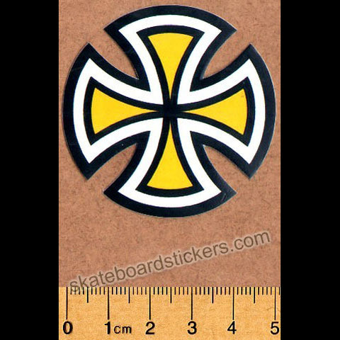 Independent Trucks Cut Cross Skate Sticker - Yellow Small