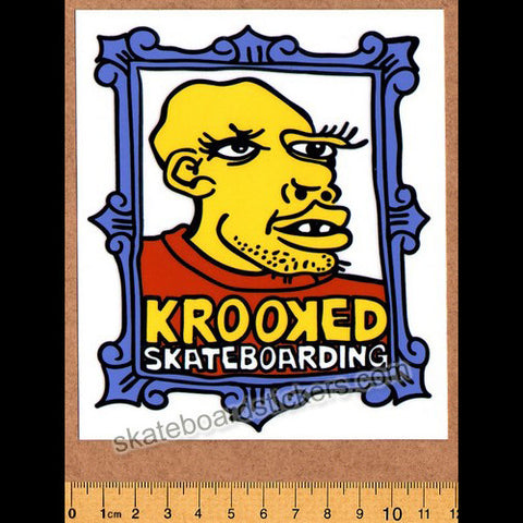Krooked Framed Face Skateboard Sticker - SkateboardStickers.com