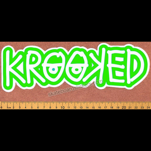 Krooked -  Klear Eyes Green Skateboard Sticker - SkateboardStickers.com