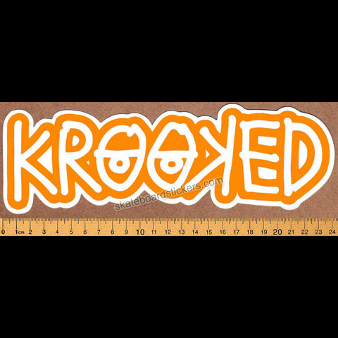 Krooked -  Klear Eyes Orange Skateboard Sticker - SkateboardStickers.com