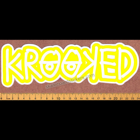 Krooked -  Klear Eyes Yellow Skateboard Sticker - SkateboardStickers.com