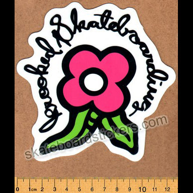 Krooked -  Pink Bloom Skateboard Sticker