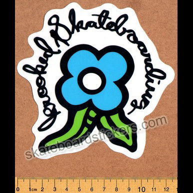 Krooked -  Blue Bloom Skateboard Sticker