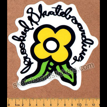 Krooked -  Yellow Bloom Skateboard Sticker