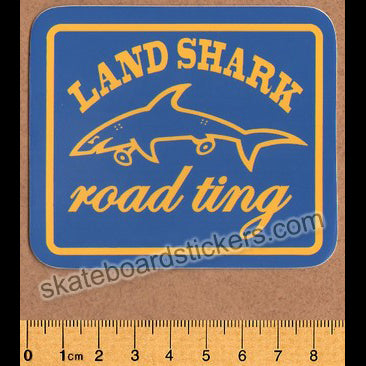 Land Shark Crew Road Ting Skateboard Sticker - Blue/Yellow