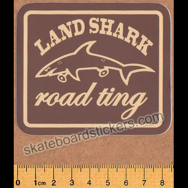 Land Shark Crew Road Ting Skateboard Sticker - Brown