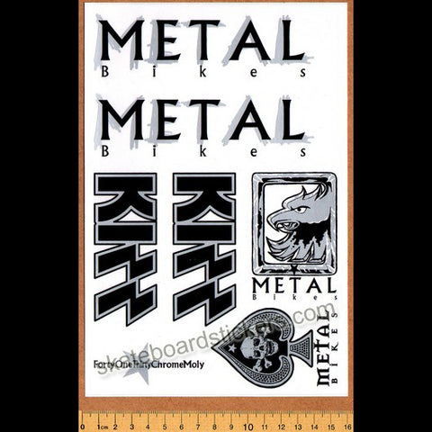 Metal Bikes - Kizz BMX Limited Edition Collectors Sticker Sheet - Silver/Black