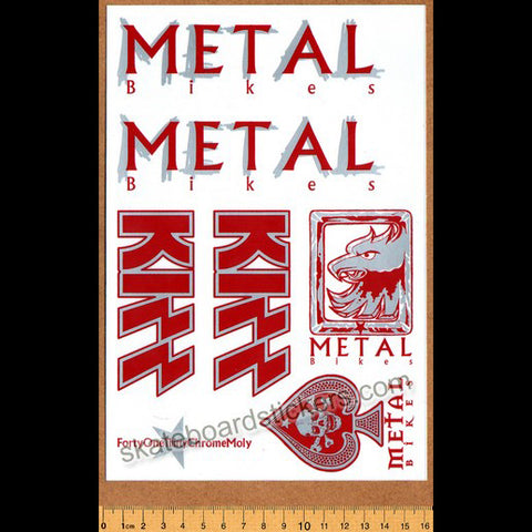 Metal Bikes - Kizz BMX Limited Edition Collectors Sticker Sheet - Silver/Red