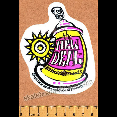 New Deal Official Reissue Skateboard Sticker - Spray Can Yellow