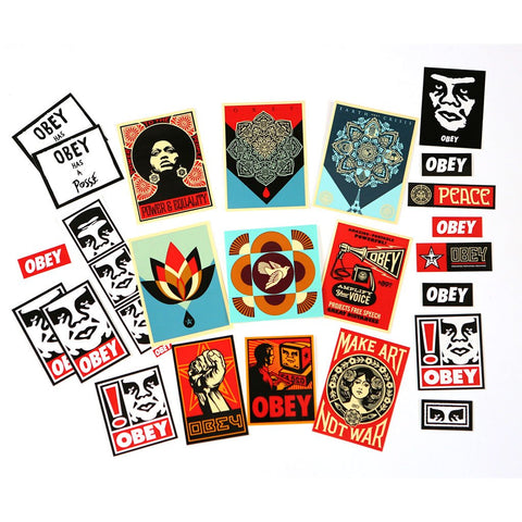 24 mixed OBEY artwork stickers Pack based on Shepard Fariey's original artwork