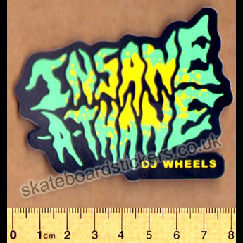 OJ Wheels - Insane-A-Thane Skateboard Sticker