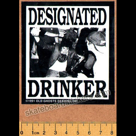 Old Ghosts Designated Drinker Old School Skateboard Sticker