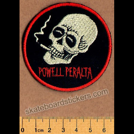 Powell Peralta Smoking Skull Skateboard Patch - SkateboardStickers.com