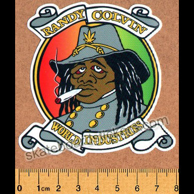 Prime X World Industries Randy Colvin Rasta Rebel Skateboard Sticker. Ltd Edition of 300 - Hand Numbered