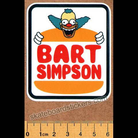 Prime LA Bart Simpson x Jason Lee Burger Skateboard Sticker
