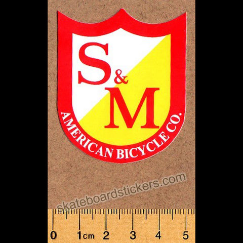 S&M Die Cut Red/Yellow Classic Shield BMX Sticker - medium