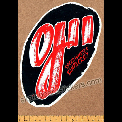 Santa Cruz Old School Skateboard Sticker - OJ II Speed Wheels - SkateboardStickers.com