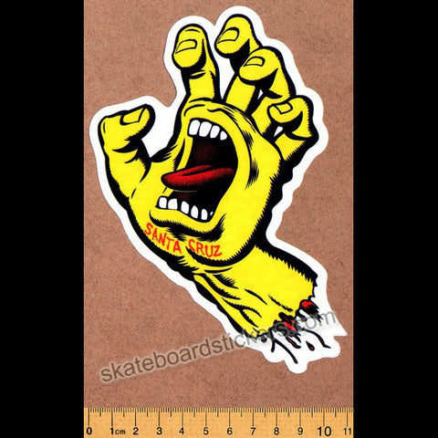 Santa Cruz Screaming Hand Skateboard Sticker - Yellow