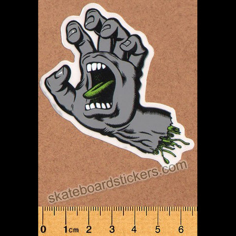 Santa Cruz Cool Grey Screaming Hand Small Skateboard Sticker