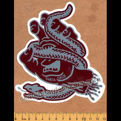 Santa Cruz Snake Bite Screaming Hand Skateboard Sticker