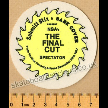 Schmitt Stix - The Final Cut Spectator Old School Skateboard Sticker