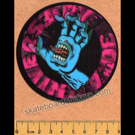 Santa Cruz 30th Anniversary Lenticular Screaming Hand Skateboard Sticker - SkateboardStickers.com