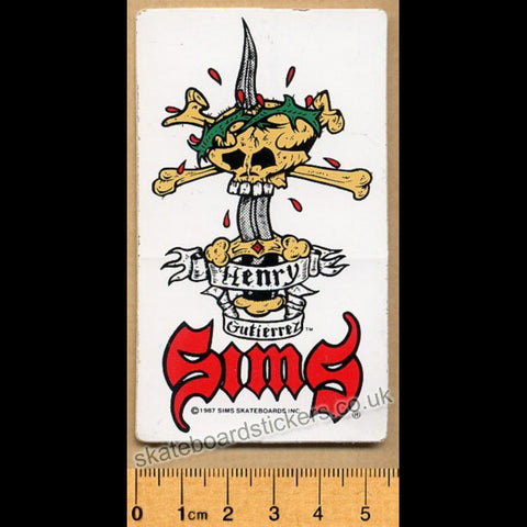 Sims Henry Gutierrez Old School Rare 1987 Vintage Skateboard Sticker - white