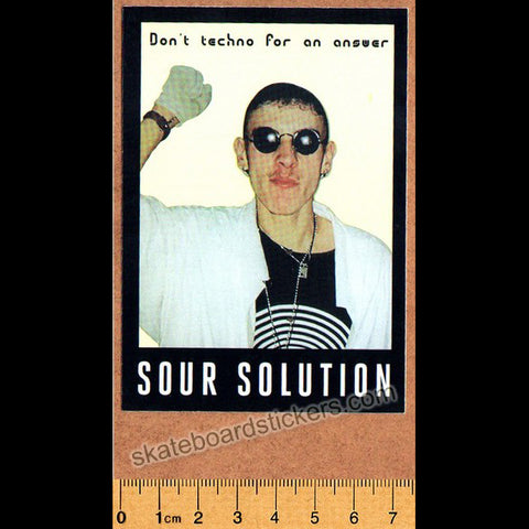Sour Solution Skateboards Skateboard Sticker - Don't Techno For An Answer