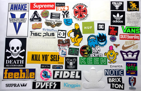 50+ Skateboard Sticker Pack - Slight Creasing / Minor Defects
