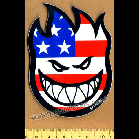 Spitfire Wheels Flaghead Skateboard Sticker - Bighead US Flag