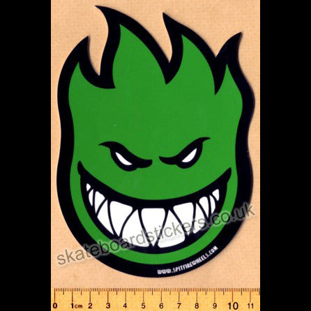 Spitfire Wheels Skateboard Sticker - Bighead Green - SkateboardStickers.com