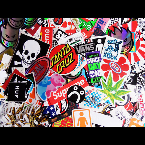 10 Skateboard Sticker Pack - Top Brands but Slight Creasing / Minor Defects - SkateboardStickers.com