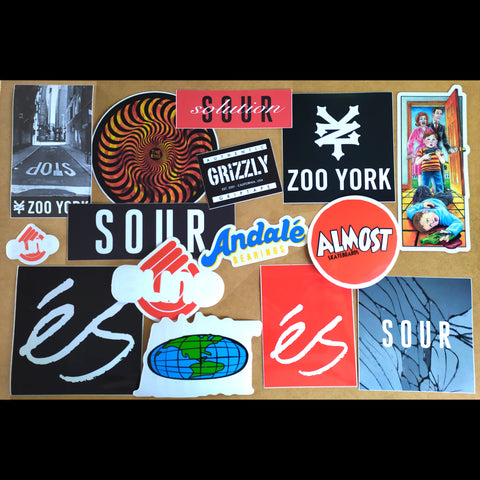Bargain Skateboard Sticker Pack - 15 Stickers from Andale, Almost, Blind, Grizzly, 'eS, Sour, Spitfire & Zoo York!