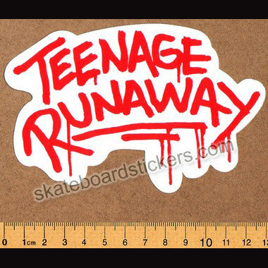 Teenage Runaway Wheels Skateboard Sticker - SkateboardStickers.com