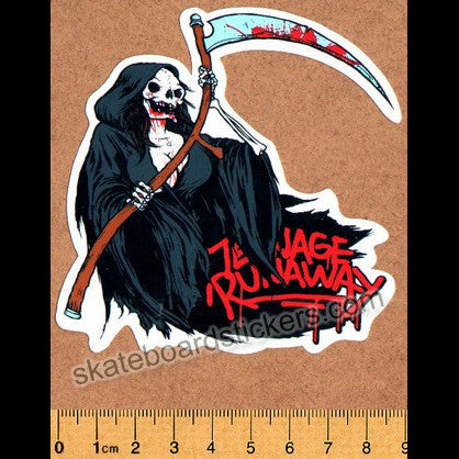 Teenage Runaway Wheels Grim Reaper Skateboard Sticker