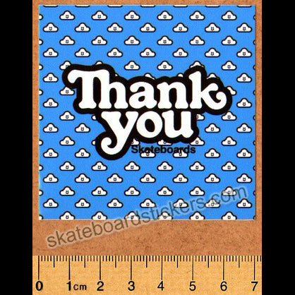 Thank You Skateboard Sticker - Cloudy