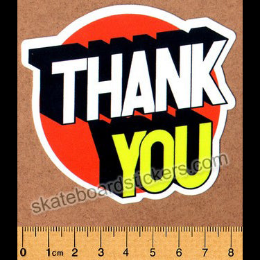 Thank You Skateboard Sticker - 3D