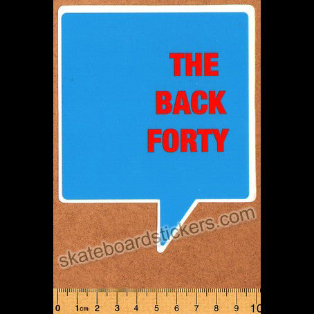 The Back Forty Skateboard Sticker - Blue - SkateboardStickers.com
