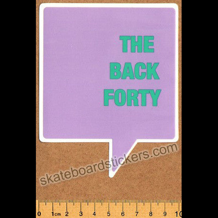 The Back Forty Skateboard Sticker - Pink - SkateboardStickers.com