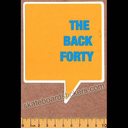 The Back Forty Skateboard Sticker - Yellow - SkateboardStickers.com
