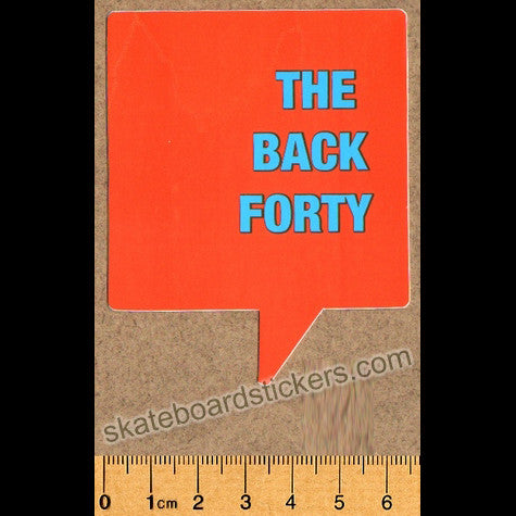 The Back Forty Skateboard Sticker - Orange - SkateboardStickers.com