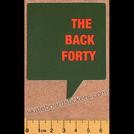 The Back Forty Skateboard Sticker - Green - SkateboardStickers.com