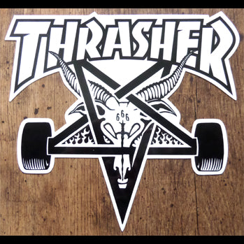 Large Thrasher Magazine Skate Goat Skateboard Sticker - White/Black